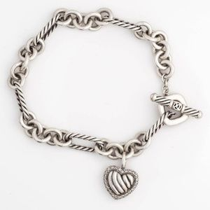 Yurman Sterling Silver & Diamond Heart Bracelet